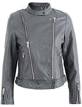 Simplee Apparel Women 's Faux Leather Slim Fit solapa cremallera biker jacket Outwear