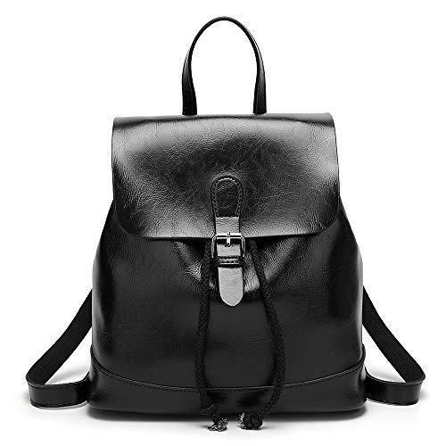 Mini Babala Damen Kleinen Rucksack Umhängetasche Handtasche Mädchen Schulrucksäcke Casual Daypack PU Leder Rucksäcke Reise Schultasche, Schwarz - Schwarz Poliert Leder Handtasche