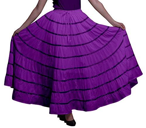 Phagun Frauen indische Kleidung Dark Purple Lange beiläufige Rock Maxi-Sommer-Abnutzungs-54
