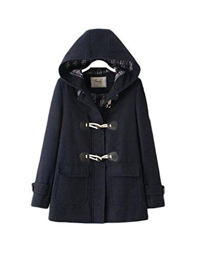 Manteau laine de boutons corne rétro féminin Navy