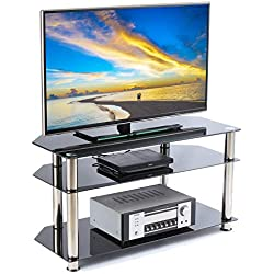 RFIVER Meuble TV Support pour Téléviseur à Ecran LED LCD OLED et Plasma jusqu'à 50 Pouces Verre Trempé et Tube Chromé Noir TS1001