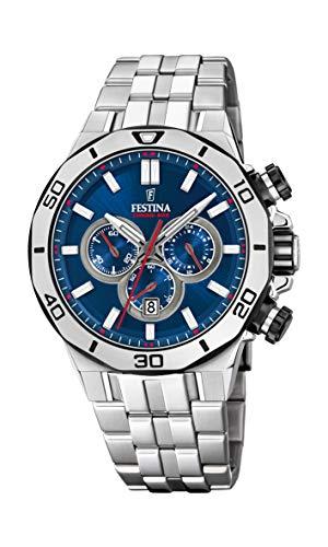 Festina Unisex Erwachsene Chronograph Quarz Uhr mit Edelstahl Armband F20448/3