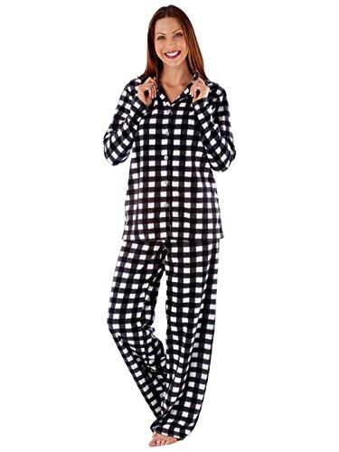 Damen verehren Kragen Fleece Pyjama, Geschenk-Verpackung-Kirsche oder schwarz 38 bis 48 Schwarz