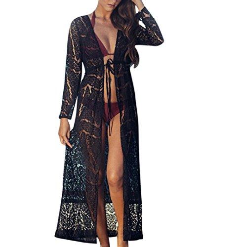 Longra Bikini Cover Up Damen Bikini Kleid Strandkleid Damen Push Up Sommer Kleid Bikini Überwurf Kaftan Spitze Kimono Frauen Boho Bikini Cardigan Lange Maxikleid (Black, XL) (Garten Kaftan)