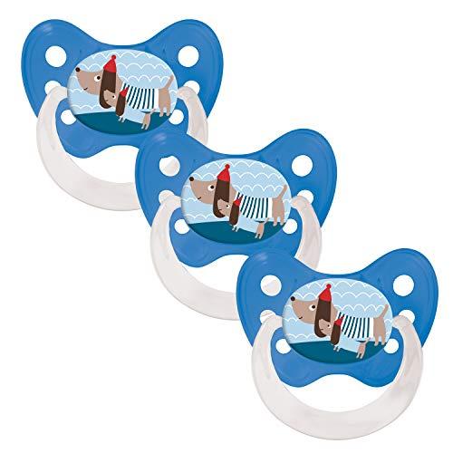 Dentistar® Silikon Schnuller 3er Set - Nuckel Größe 2, 6-14 Monate, zahnfreundlich und kiefergerecht | Dackel -
