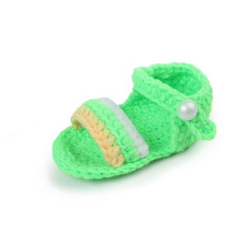 Yue Lian Baby Unisex Knit Rutschfeste Schuhe mit Streifen Handgemachte Strickschuhe Lauflernschuhe Neon Grün