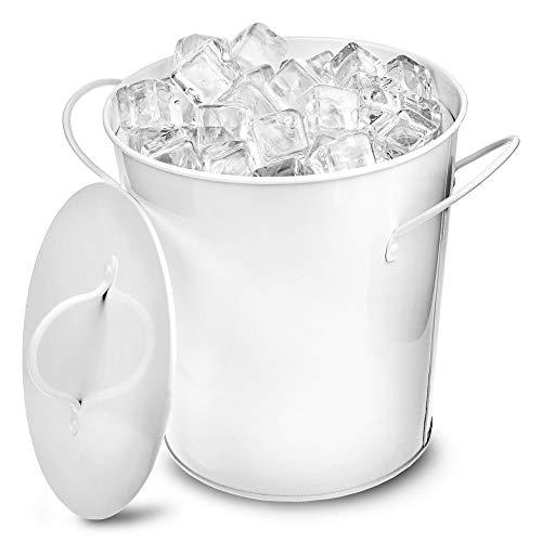 Bar@drinkstuff, Eiseimer aus verzinktem Stahl, isolierend, weiß - Party-Metalleimer zum Servieren von Eiswürfeln