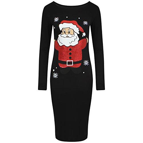 Get The Trend - Robe - Manches Longues - Femme Noir Noir Noir - BLACK SANTA