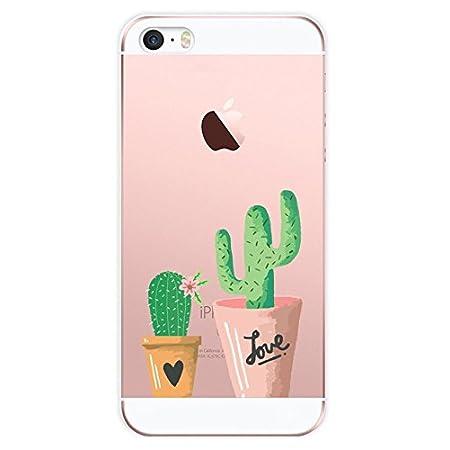 iPhone SE Hülle Caler® Weiche flexible Silikon-Handy-Hülle Transparente Ultra Slim TPU dünne stoßfeste mit Motiv Rundum…