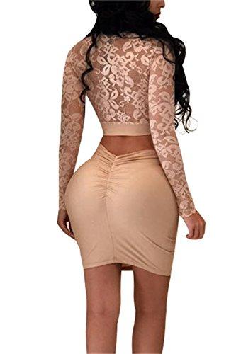 Le Donne Sexy Con Scollo A V Bodycon Lace Top Scollato Con Mini Vestito 2 Pc Completo Pink