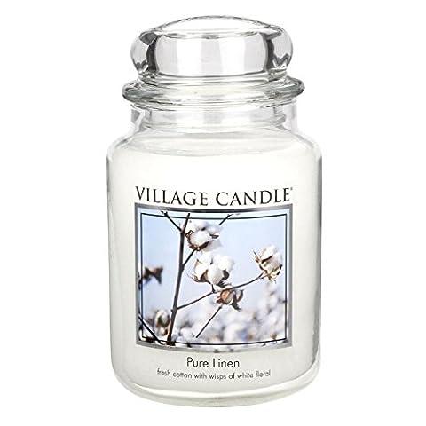 Village Candle Grande bougie parfumée Jusqu'à 170 heures de combustion Linge frais 17x10cm 1219g