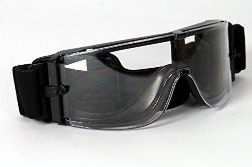 Motorradbrille schwarz, klare Gläser