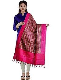 Unnati Silks Women Pink-Green Pure Pochampally Ikkat Printed Dupatta