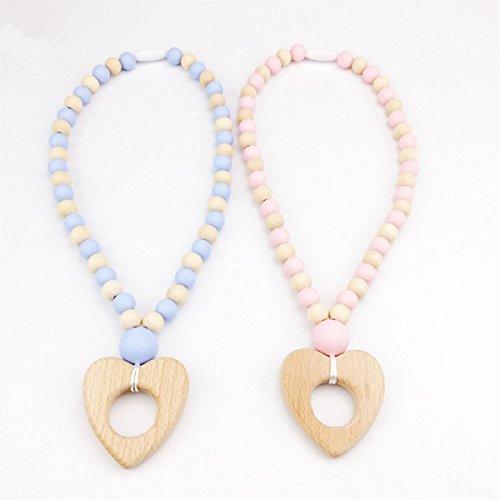 baby tete Holz Herzform Pflege Halskette 2 stück Silikon Perlen Kinderkrankheiten Schmuck Sicher und Natürlich Können Kauen Babys Troller Spielzeug Kinderwagen