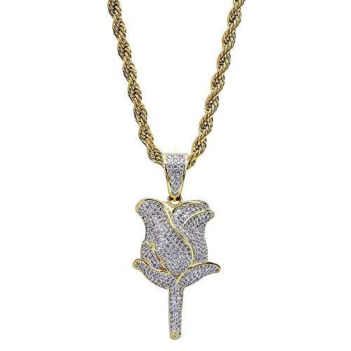 Gold Rose Blütenblätter Halskette Anhänger Mit Tennis Kette Silber Farbe Iced Out Kubikzirkon Männer Hip Hop Schmuck Für Geschenk,A -