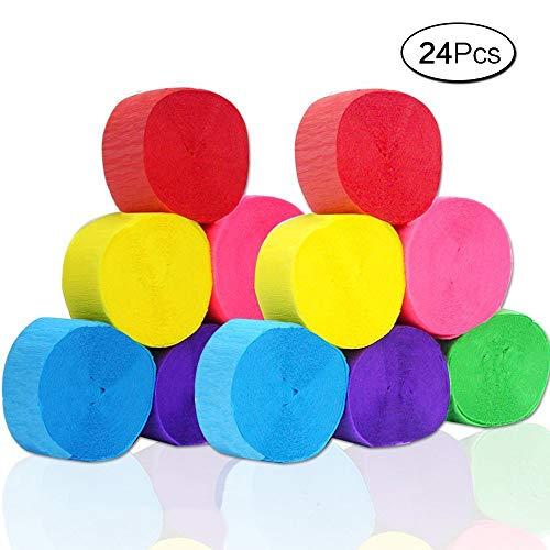 Anjing 24 Kreppschlangen Papierrollen 6 Farben für Geburtstag Klasse Party Abschluss-Dekoration -