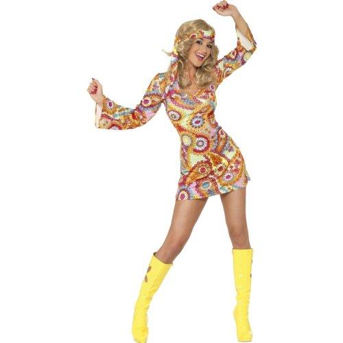 Karneval Damen Kostüm Hippie Braut Disco 60er Jahre Kleid Größe (Hippie Disco Kostüme)