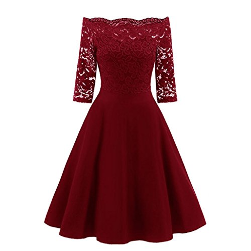 Mitlfuny Damen Vintage Lace Patchwork Aus der Schulter Cocktail Party Retro Swing Kleid Schulterfreies Cocktailkleid Jerseykleid Skaterkleid Knielang Elegant Festlich Asymmetrisches (XL, Rot) (Vintage-heels Lace)
