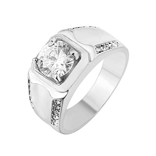 Aienid anelli acciaio anallergico oro quadrato di irregolarità anello per uomo size:22