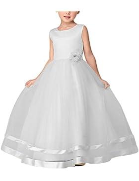 Maxi Bodas Vestido De Princesa De Niñas Vestidos Elegante De Coctel Fiesta Largos De Noche Blanco para 120CM