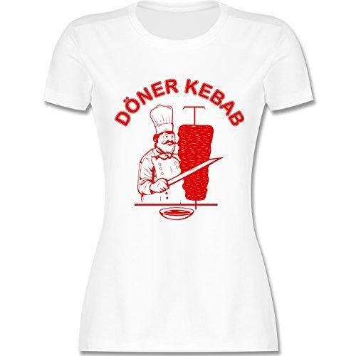 Statement Shirts - Original Döner Kebab Logo - S - Weiß - L191 - Damen T-Shirt Rundhals