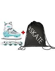 SET - SPOKEY® XROUT Inline Skates / Schlittschuhe mit austauschbarer Schiene + ULTRAPOWER® Beutelrucksack | Kinder | Damen | Inliner | Blades | Rollen | Kufe | ABEC7 | 30-33 | 34-37 | 38-41