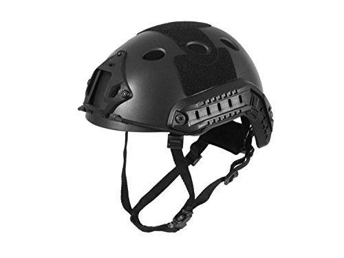 Begadi FAST Helm mit NVG Mount, 2 ARC Rails, Occ-Dial Liner Kit & Riemensystem - schwarz (Schwarz Wildleder Kit)