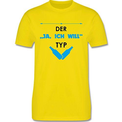 """JGA Junggesellenabschied - Der """"Ja, ich will"""" Typ - Herren Premium T-Shirt Lemon Gelb"""