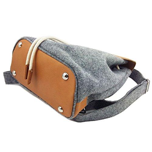 385bf6daf45ca ... Venetto Designer Rucksack aus Filz und Leder Elementen sehr leicht  backpack unisex (Grau) Grau ...