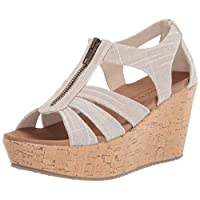 Brit - Living Heights - Sparkle Linen Zipper Wedge Quarter Strap Sandal