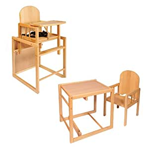 CUBE WOODEN HIGH CHAIR - BEECH WOOD HIGHCHAIR 3in1 - COMBINATION HIGH CHAIR - BABY HIGHCHAIR - PLAY TABLE & CHAIR - NEXT WORKING DAY DELIVERY