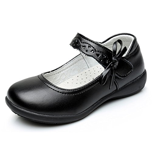 Girls School Shoes Black Leather Shoes Velcro Platforms Shoe Back To School...
