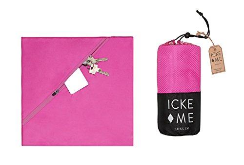 IckeMe Mikrofaserhandtücher - Sporthandtuch 120 x 60 cm - Geheimfach für Wertsachen - ultraleichtes antibakterielles Badetuch für Yoga, Fitness und Reise in pink