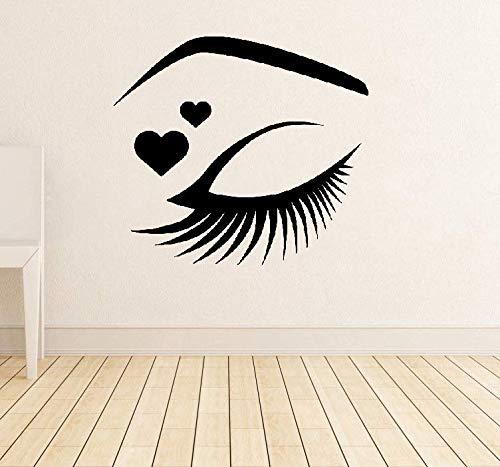 Wandtattoo Kinderzimmer Eyelish Mit Rotem Herz Auge Wimpern Wimpern Augenbrauen Brauen Beauty Salon Sticker Make Up