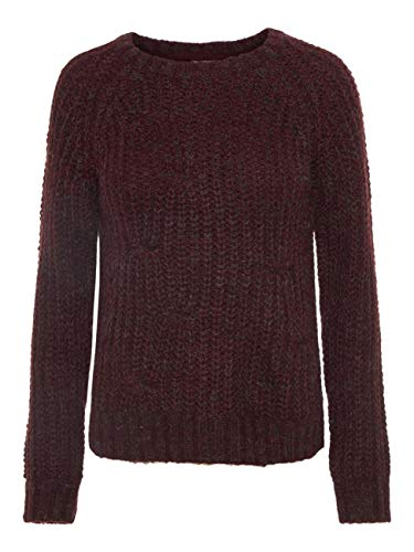 Noisy may Suzu L/S Boatneck Cable Knit Strickpullover Bordeaux L -
