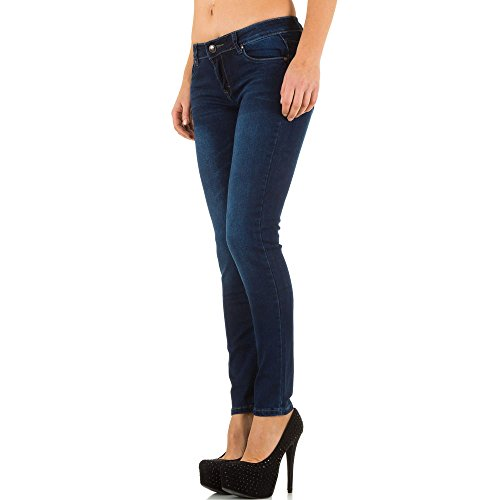 Damen Jeans, USED LOOK HÜFT SKINNYJEANS, KL-K-PTL-S2160 Dunkelblau