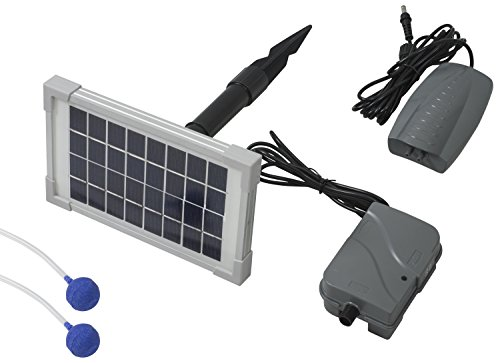 Woodside - 3-in-1-Solar-Teichbelüfter - Sauerstoffpumpe mit Akku - mit 2 Sprudelsteinen