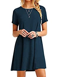 YMING Women's Long Shirt Mini Loose Summer Dress Basic Tops Casual T-Shirt Dress 16 Color,XXS-XXXXL