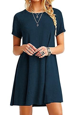 YMING Women Casual Loose T-Shirt Dress Round Neck Short Sleeve