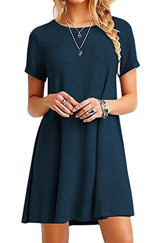 YMING Damen Kurzarm Kleid Lose T-Shirt Kleid Rundhals Casual Tunika Mini Kleid,Dunkelblau,M / DE (Dark Link Kostüm)