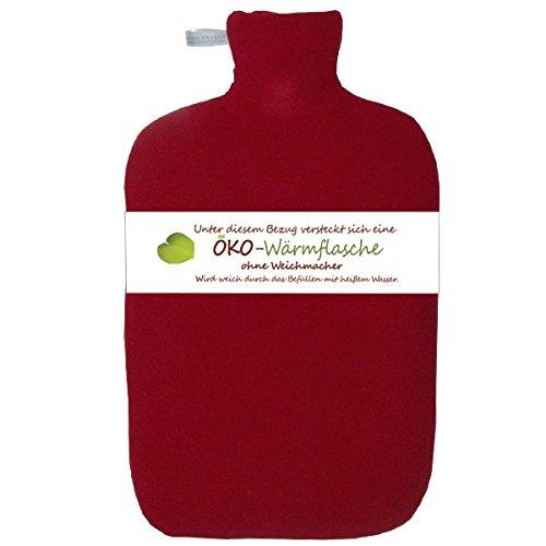 Hugo Frosch Öko-Wärmflasche Classic Comfort 2,0 Ltr. weiß mit Fleecebezug rot