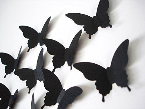 Luxbon 100p 3D Efecto de Mariposas Negro DIY Navidad Decoración Papel para Pared Puerta Ventana Techo con Etiqueta Adhesiva