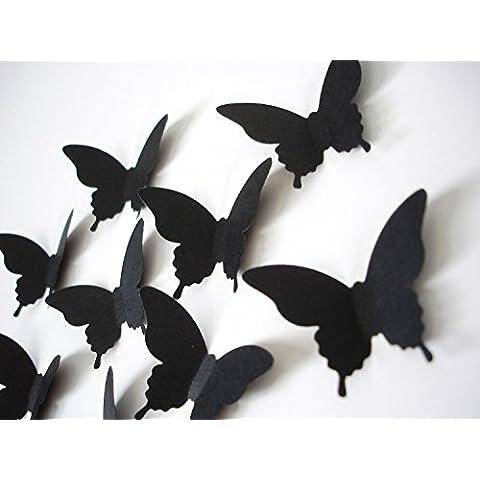 Luxbon 40p 3D Efecto de Mariposas Negro Navidad DIY Decoración Papel para Pared Puerta Ventana Techo con Etiqueta