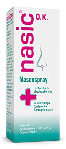 nasic O.K. Nasenspray mit dem Wirkplus - Abschwellendes Schnupfenspray ohne Konservierungsstoffe für Erwachsene & Schulkinder - Nasenspray mit Xylometazolin & Dexpanthenol - 10 ml Lösung