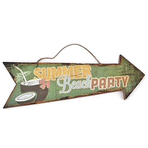 Dadeldo Holzschild Summer Beach Party Design MDF 10x30cm bunt Wand-Bild Deko (Motiv 2)