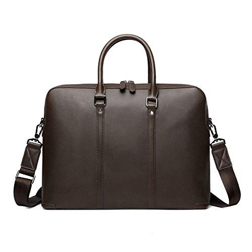 Ybriefbag Schultertasche Büro Reißverschluss Handtasche British Style Leder Business Aktentasche 14