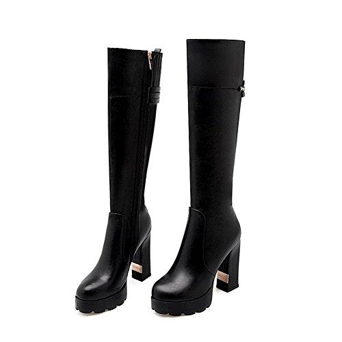 AllhqFashion Damen Hoher Absatz Eingelegt Rund Zehe Weiches Material Stiefel Schwarz
