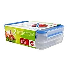 Emsa 513576 Clip & Close stacking boxes, 22.7 x 16.7 x 8 cm, 2 x 0.6 l, transparent/blue