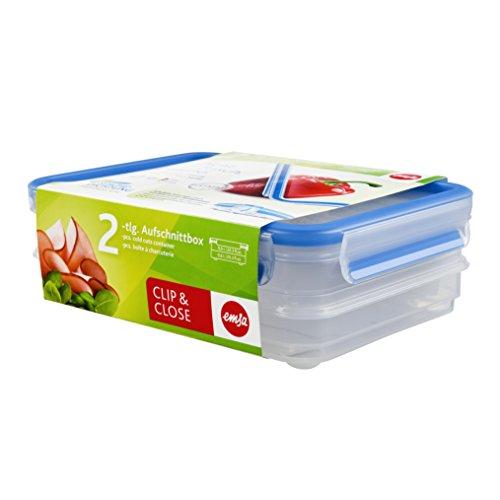 Emsa 513576 Aufschnittbox-System mit Deckel, 0.6 Liter, Transparent/Blau, Clip & Close (Italienische Stapelbar)