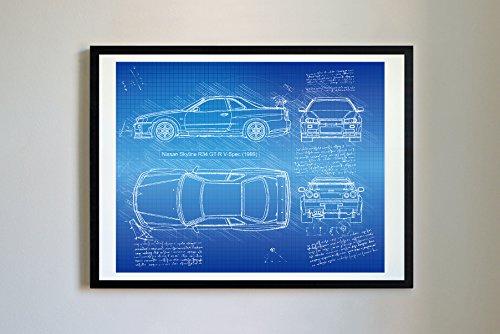 DolanPaperCo #178 Nissan Skyline R34 GT-R 1999 Kunstdruck, da Vinci Sketch, ungerahmt, Verschiedene Größen/Farben, 16 x 20 cm, Blauprint